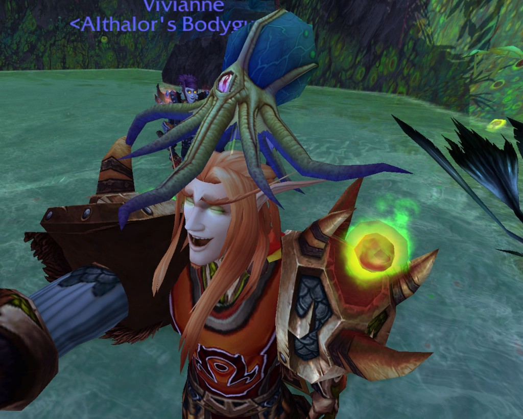 Even Althalor is easy to please.  In this case he's LUDICROUSLY HAPPY because there's a squid on his head.