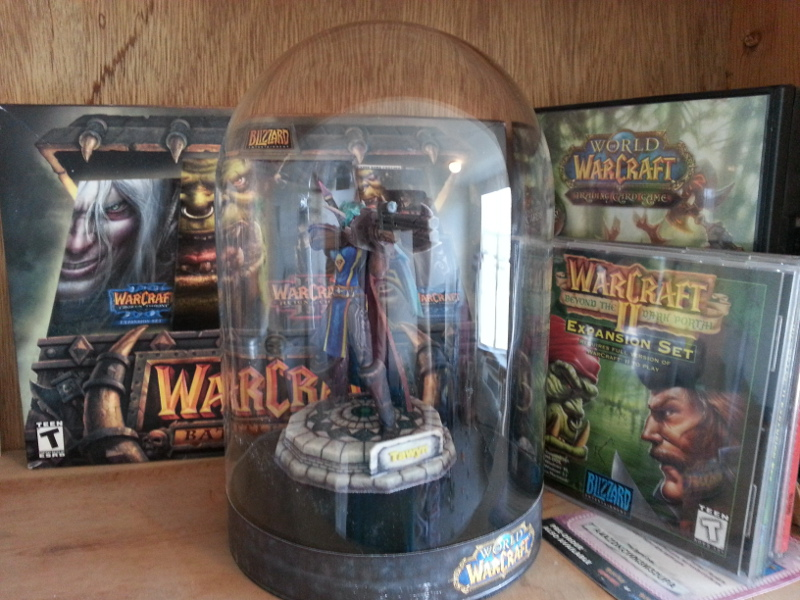 The Warcraft section of my gaming display shelf.  Did I mention I have a gaming display shelf?  I do.  It's big.